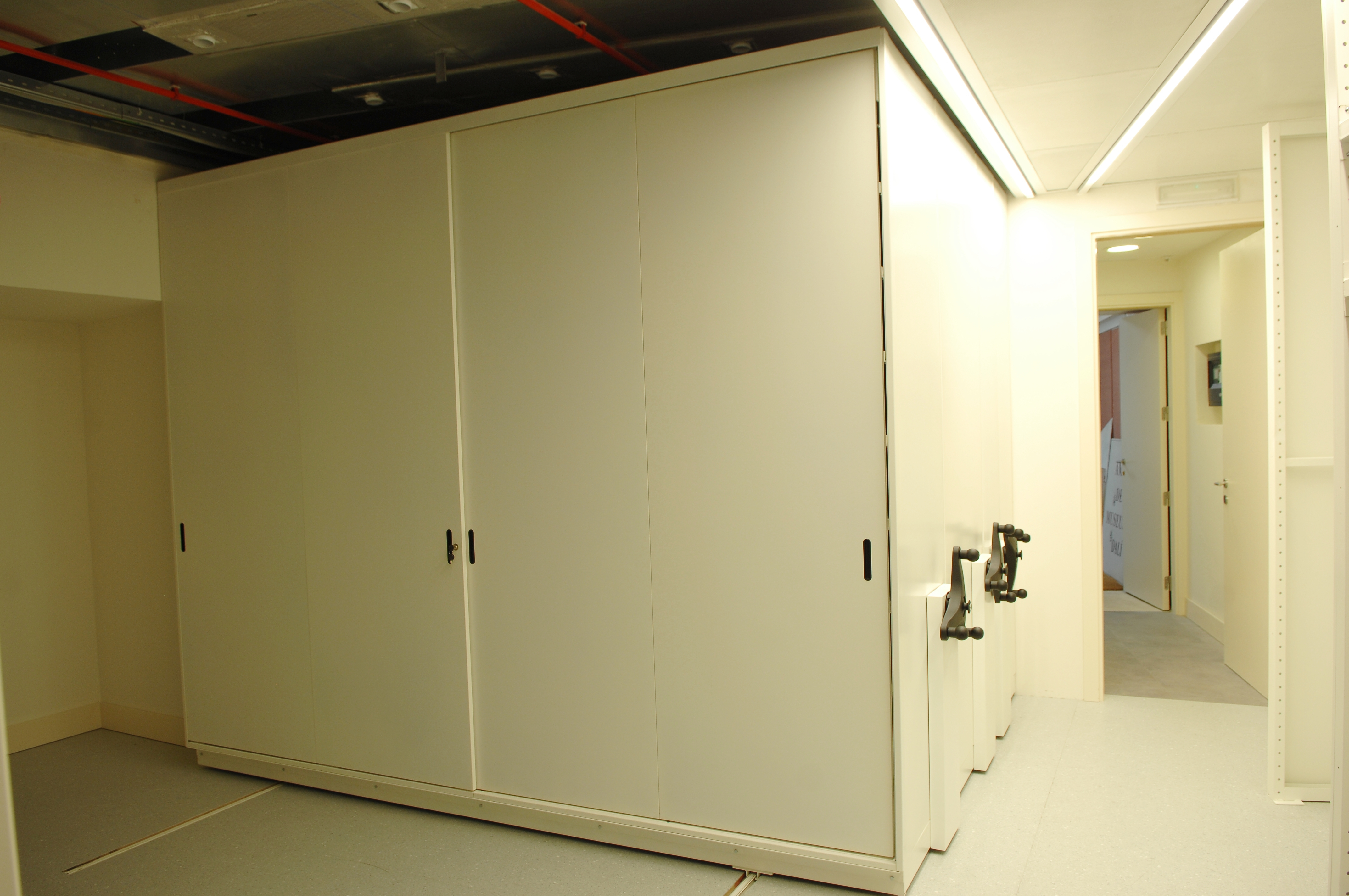 Mobile storage systems with sliding door
